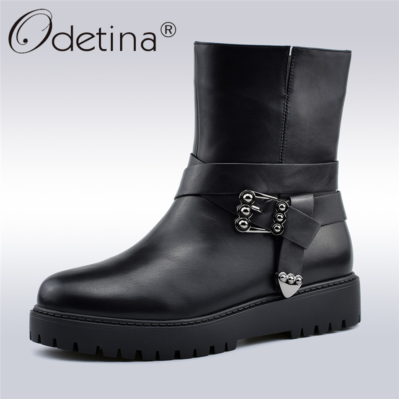 Odetina New Fashion Buckle Ankle Boots For Women Flat Platform Soft Side Zip Women Boots Winter Warm Plush Boots Big Size 41