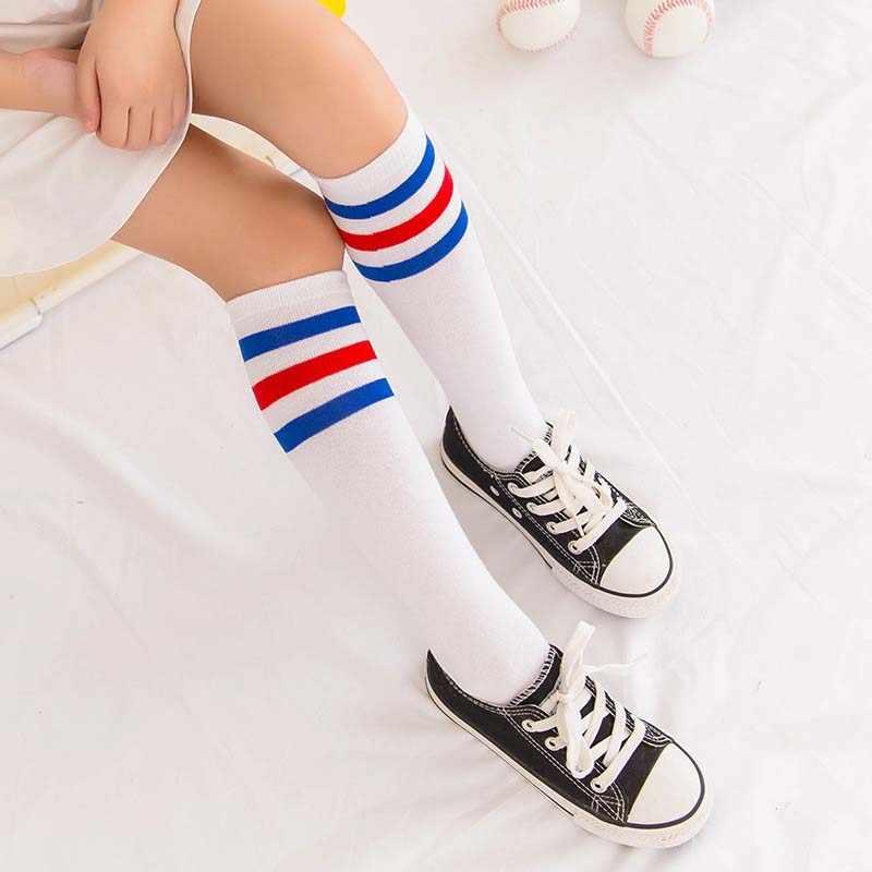 d9dee2468 ... Kids Knee High Socks For Girls Boys Football Stripes Cotton Sports Old  School White Socks Skate ...