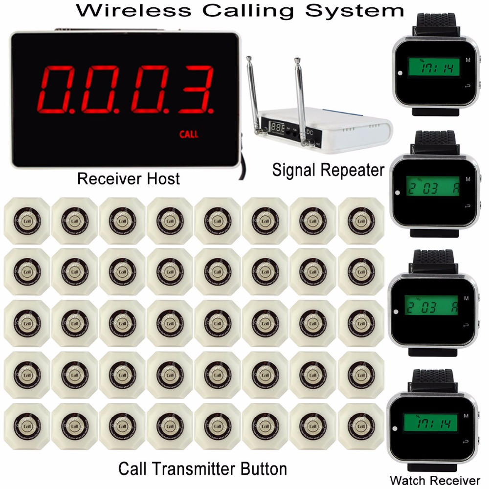 Wireless Restaurant Hotel Calling System with Receiver Host +4pcs Watch Receiver +Signal Repeater +40pcs Call Transmitter Button wireless service call bell system popular in restaurant ce passed 433 92mhz full equipment watch pager 1 watch 7 call button