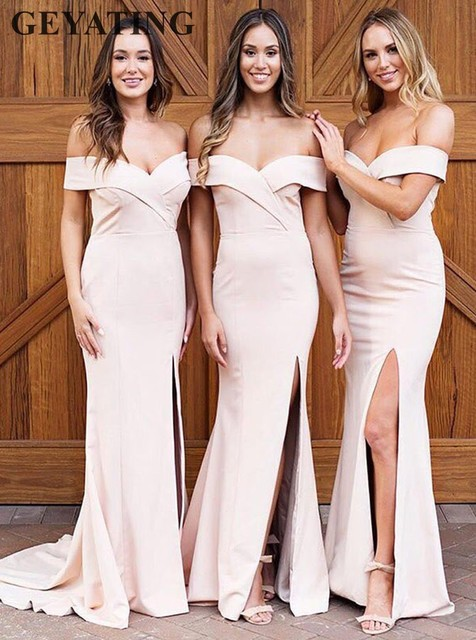 66117dc53195 Elegant Blush Pink Mermaid Long Bridesmaid Dress with Split Off the  Shoulder White Satin Wedding Party