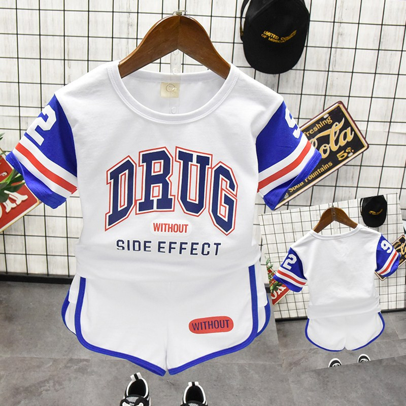 Children Summer Sports Suit Girls Boys T-Shirts+ Pants with words Decoration Children Casual Outdoor Kids Clothes