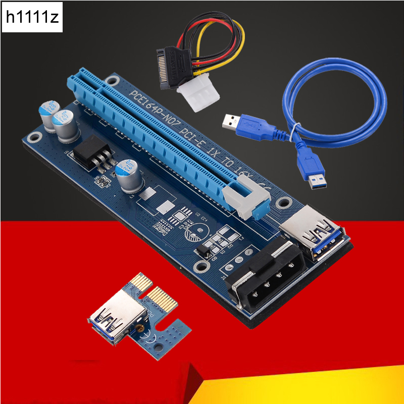 New 30CM 60CM PCI-E PCI Express Riser Card 1x to 16x USB 3.0 Data Cable SATA to 4Pin IDE Molex Power Supply for BTC Miner Mining