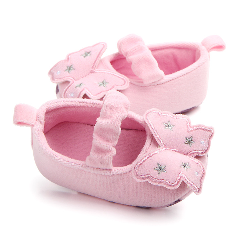 Newborn Baby Girls Princess Shoes Sweet Butterfly Mary Jane First Walkers Infant Toddler Wedding Party Soft Sole Flat Footwear