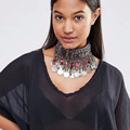 Miwens Hot Fashion Colorful Beads Collar Statement Choker Necklace Vintage Metal Coin Leaves Tassel Necklaces & Pendants 7516