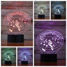 Musical Note Usb 3d Led Night Light Multicolor Rgb Boys Child Kids Baby Gifts Touch Sensor Atmosphere Table Lamp Bedside sale novelty buddha usb 3d night light atmosphere led bulbs luminaria nights lamp christmas birthday gifts table rgb lamparas