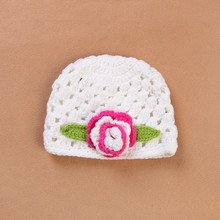 Baby summer Crochet Hats Newborn Baby caps ear flap baby cap flower hat cream knitted baby hat infant photo props