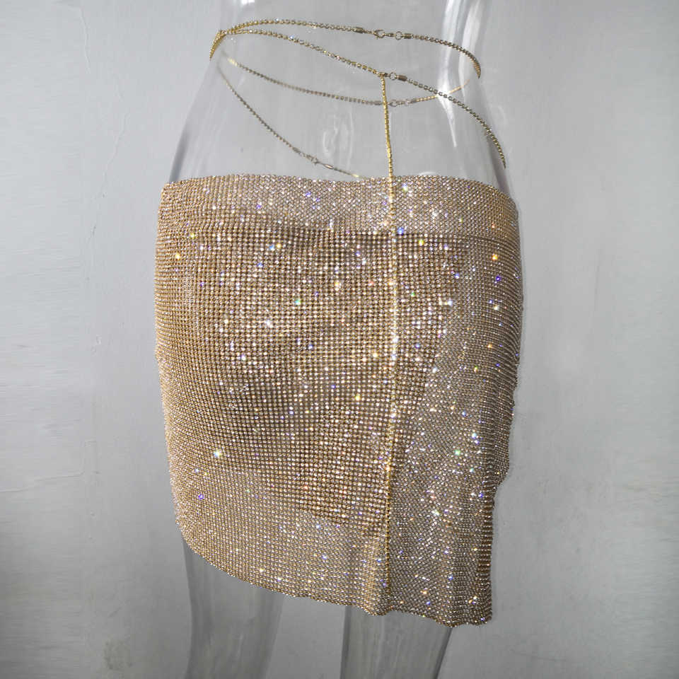 ... Karlofea 2018 New Club Night Skirt Spring Ladies Diamond Rhinestone  Side Lace Up Gold Silver Skirt ... e6b8b49fcda8