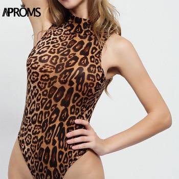 Aproms הדפס מנומר Slim Bodysuits סקסי גולף Bodycon Romper נשים סרבל מגניב בנות גבוהה רחוב למעלה לנשים בגדים