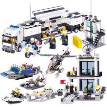 536pcs Building Blocks Police Station Prison Figures City Enlighten Bricks Toys For Children Trucks Helicopter