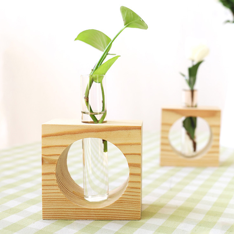 1Set Wood Modern Style Glass Tabletop Plant Bonsai Flower Wedding Decorative Vase With Wooden Tray Home Decoration Accessories drawer