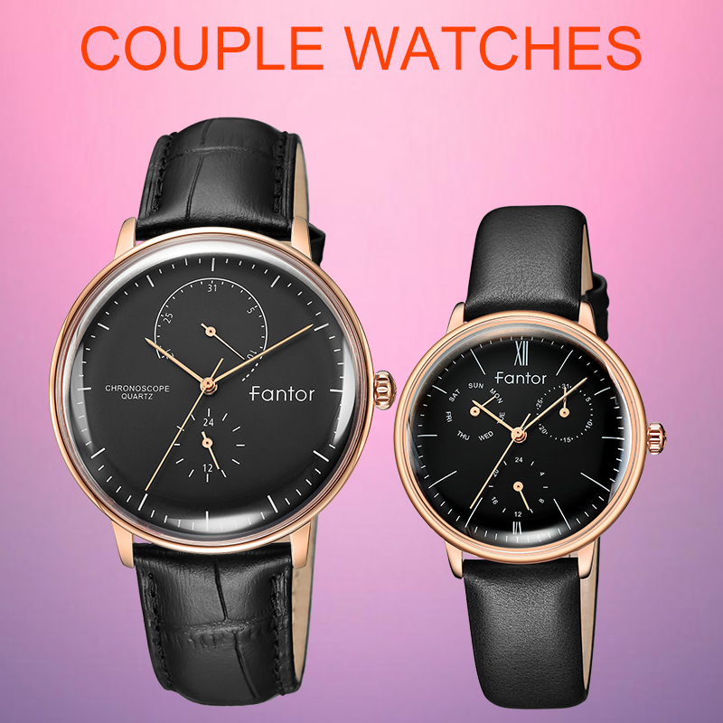 Мужские и женские кварцевые часы Fantor с хронографом, черные водонепроницаемые часы из кожи, 2019