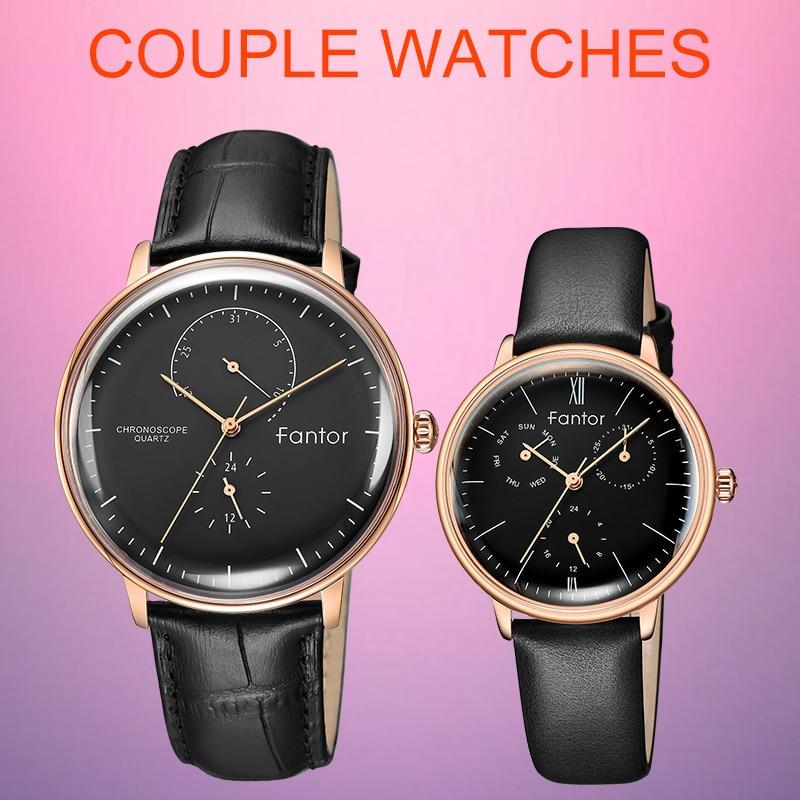 Fantor Men Women Couple Quartz Chronograph Watch Set Black Leather Waterproof 2019 Luxury Brand Wristwatch  Lovers Watch Pair