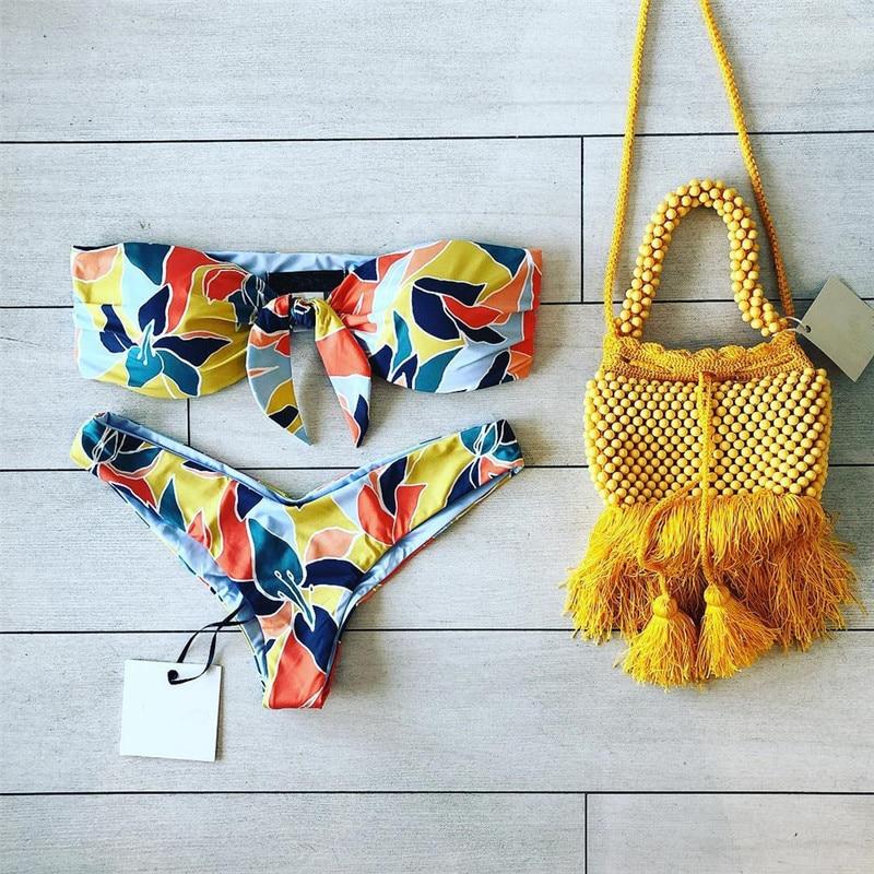 Bikinis Set Sakkus 2019 Bandage Swimwear Women Swimsuit High Cut Bikini Set Bandeau Bathing Suit Push Up Maillot De Bain Femme Beachwear Good For Antipyretic And Throat Soother
