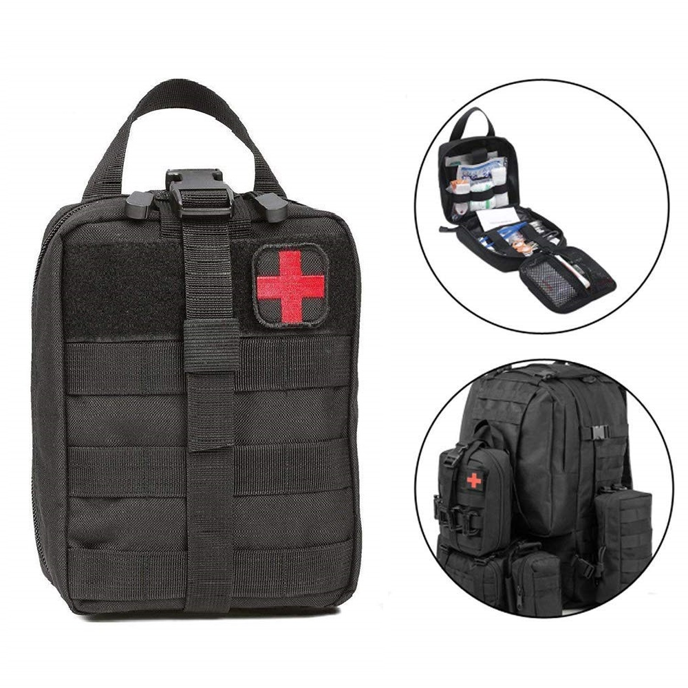 Outdoor Water First Aid Kits Travel Oxford Cloth Tactical Waist Pack Camping Climbing Bag Black Emergency Case|Emergency Kits|Security & Protection - title=
