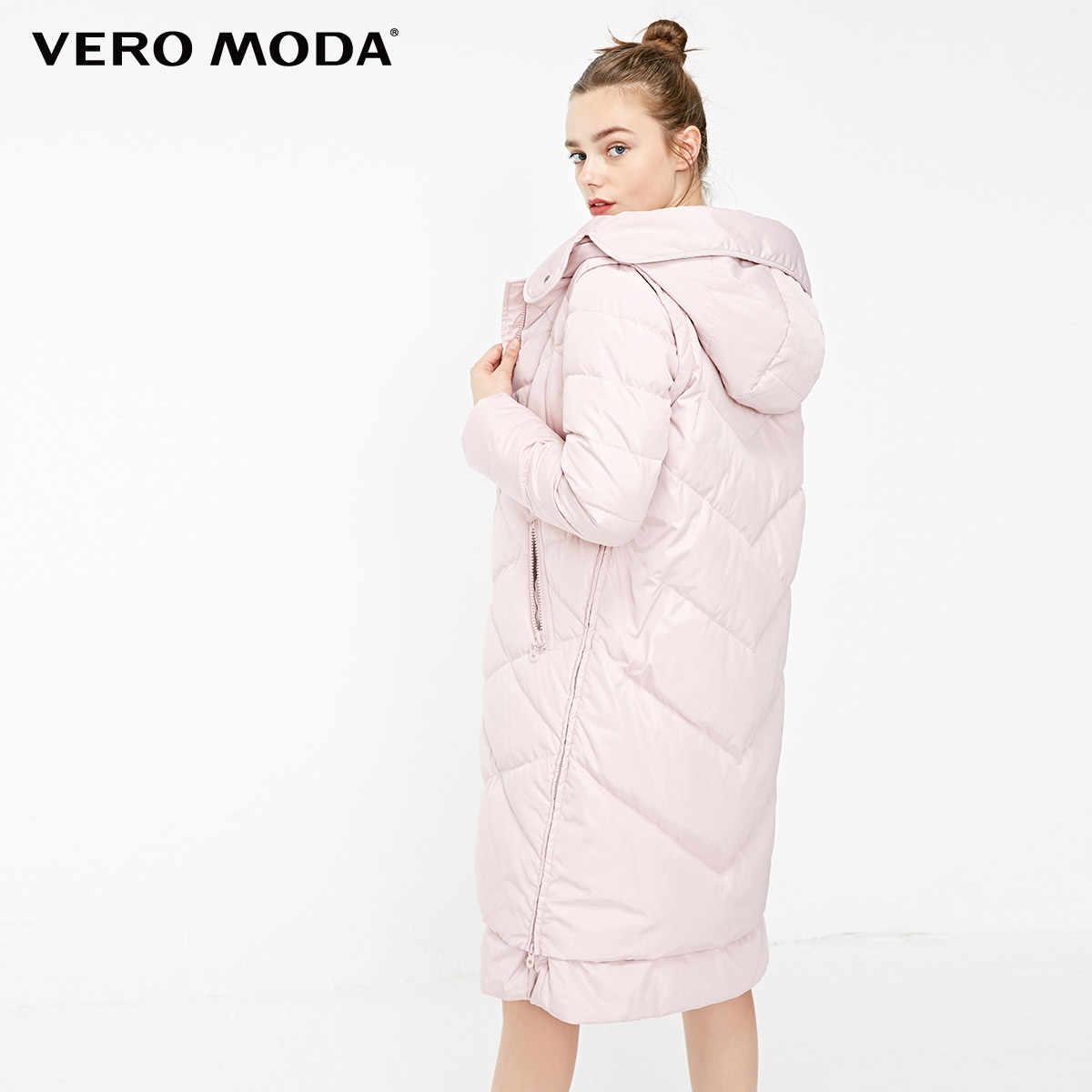 Vero Moda новый с капюшоном съемный рукав боковой молнии плед длинный пуховик женский | 318312502