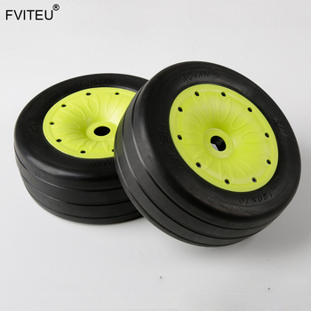 FVITEU Rubber Slick wheel tires with sealed rim  Set For 1/5 Losi 5ive-T Rovan LT Baja 4WD and SLT Truck King Motor X2