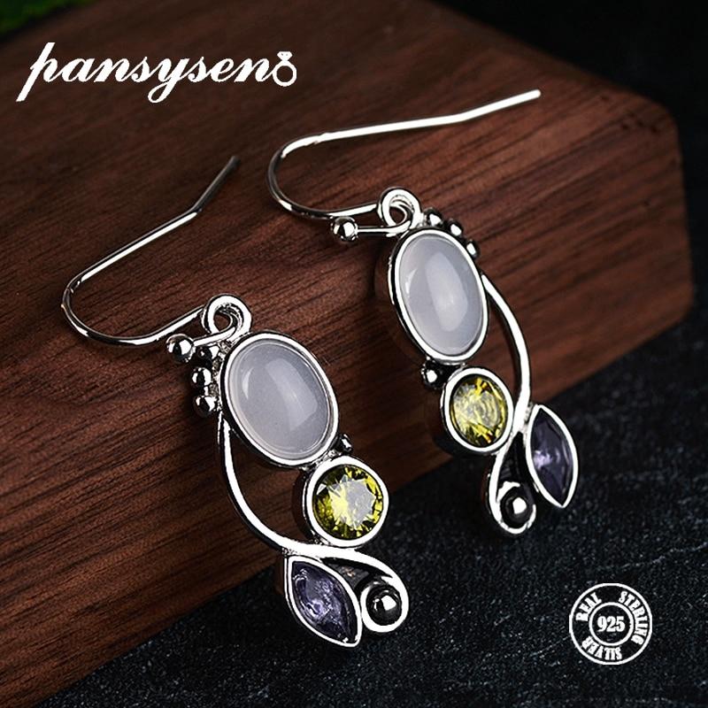 PANSYSEN Women's Earings Fashion Jewelry Genunie 925 Sterling Silver Moonstone Drop Earrings Anniversary Birthday Christmas Gift