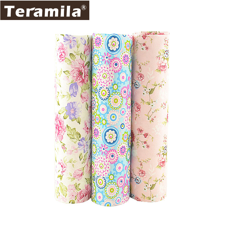 Teramila 3 PCS/lot 40cmx50cm 100% Cotton Fabric Flower Fat Quarter For Sewing Clothes Bedding Quilting Patchwork Crafts