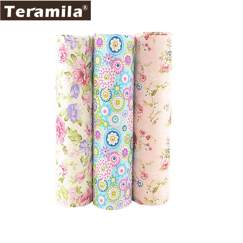 Teramila 3 pçs/lote 40 cm x 50 cm Tecido 100% Algodão Flor Roupas de Cama Quilting Trimestre Gordo Para Costura Patchwork artesanato