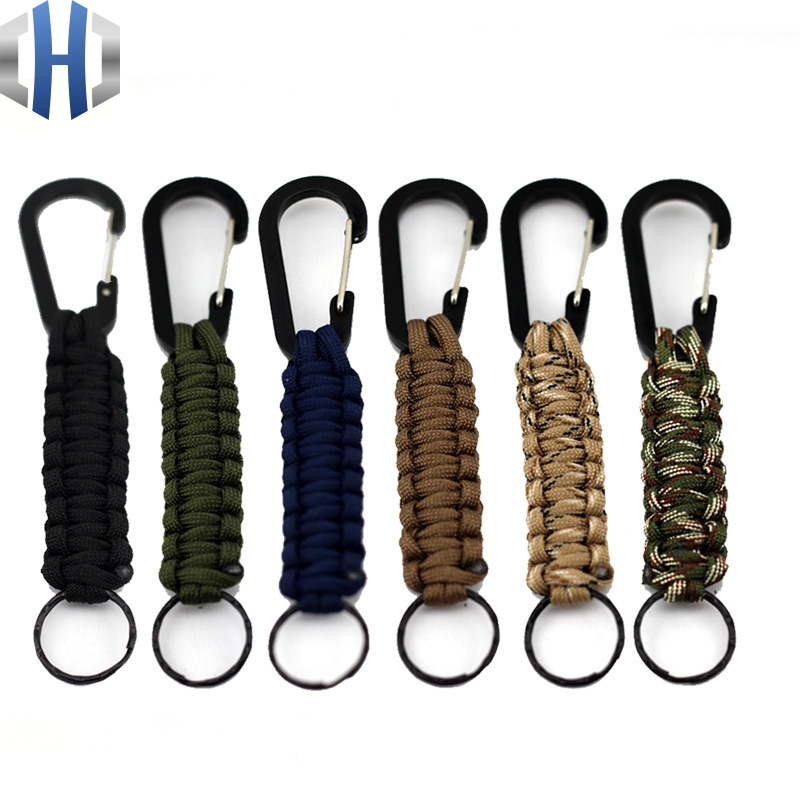 EDC 1PC Outdoor Survival Kit Parachute Cord Keychain Military Emergency Paracord Rope Carabiner For Keys 140kg Tensile Strength парфюмерный набор bvlgari rose goldea п вода 90 мл лосьон тела 75 мл гель душа 75 мл косметичка