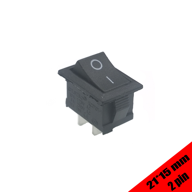 10pcs/lot  KCD101  21*15mm SPST 2PIN Snap-in on off switch Position Snap Boat Rocker Switch 6A/250V High Quality 5 pieces lot ac 6a 250v 10a 125v 5x 6pin dpdt on off on position snap boat rocker switches