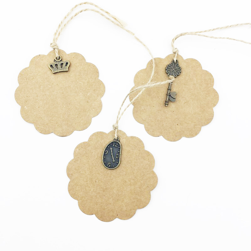 Wholesale 100Pcs/Lot Kraft Paper Blank Gift Price Hand Draw Hang Tags Luggage Wedding Party Favor Note Cards Packaging Labels