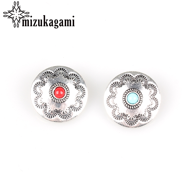 3pcs/lot 30MM Retro Zinc Alloy Round Silver Turquoise Decorative Buttons Charms Flower Pendant For DIY Accessories Free shipping