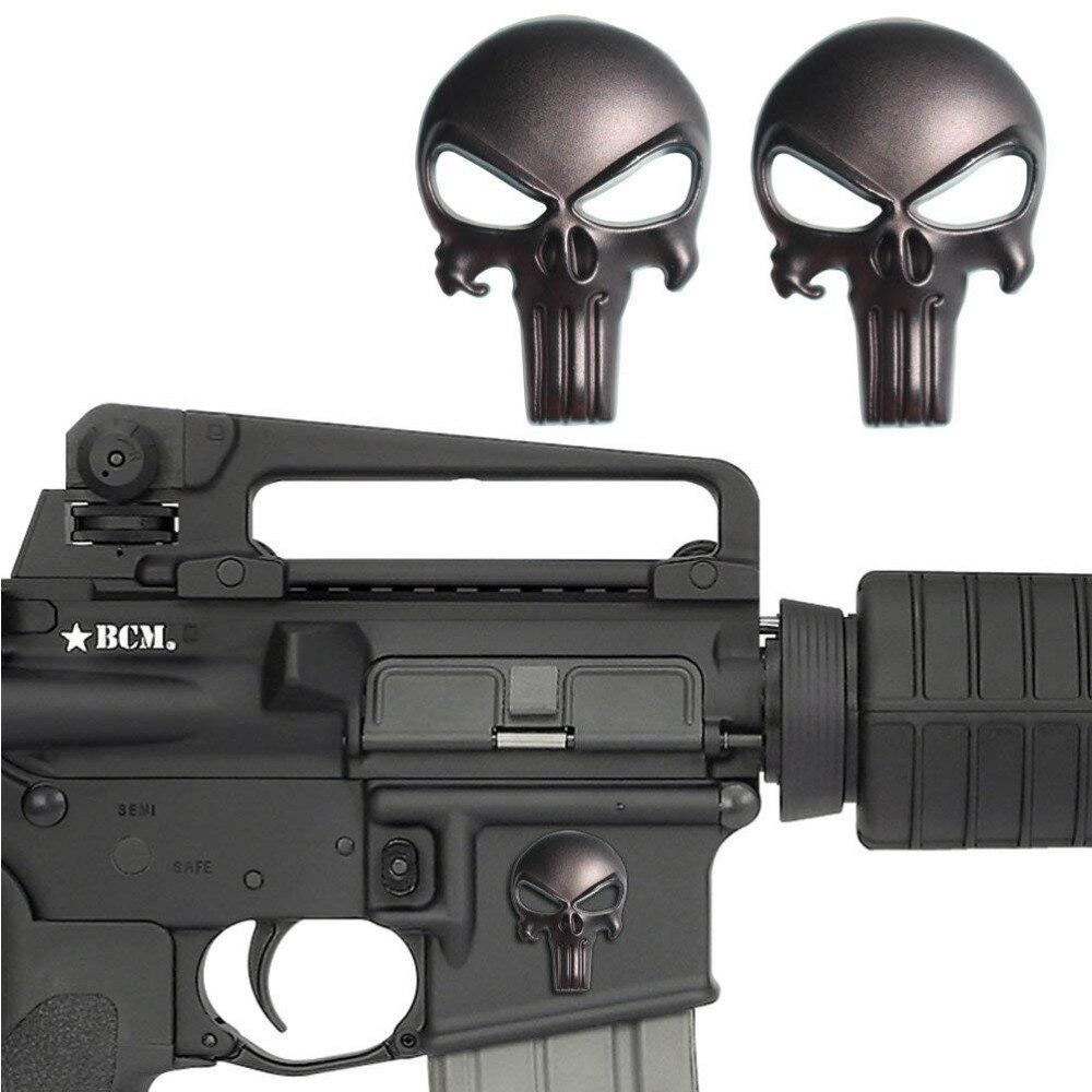 Magwell Punisher emblema do metal etiqueta De Metal Decalque Adesivo 3D Motocicleta adesivo de Carro emblema auto DIY Crânio Punisher badges