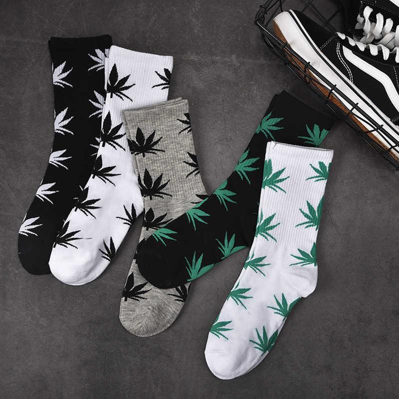 AZUE мужские хлопковые носки в стиле Харадзюку с принтом кленовых листьев носки с травой повседневные длинные носки унисекс