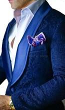 Jacquard Suit Men 2018 Navy Blue Tuxedo Jacket 2 Piece Men Suits For Wedding Shawl Collar Mens suits  ( jacket+Pants)