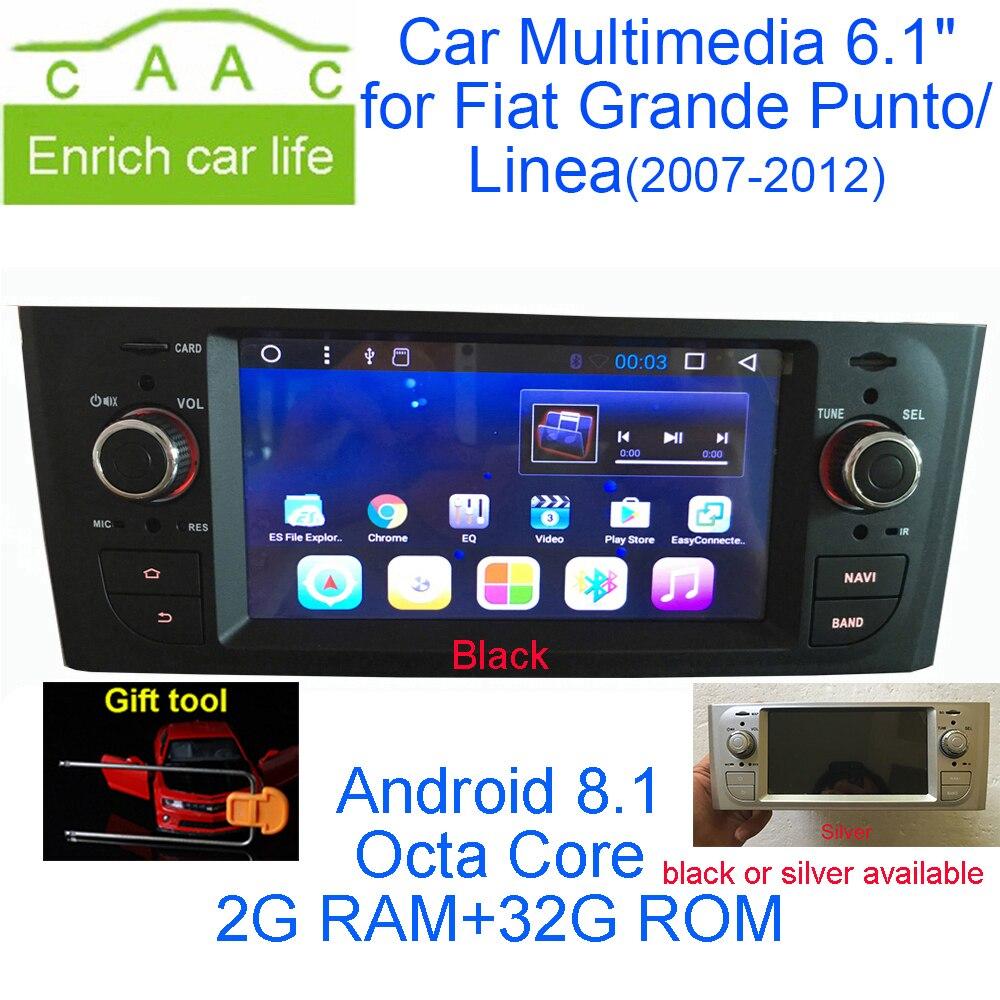 Date Android 8.1 Octa Core GPS Navigation Stéréo 6.1 DVD de Voiture Multimédia pour Fiat Grande Punto/Linea 2007 -2012 avec Radio/RDS