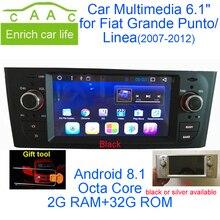 Новейший Android 8,1 Восьмиядерный gps Навигация стерео 6,1 «автомобильный DVD мультимедиа для Fiat Grande Punto/Linea 2007-2012 с Радио/RDS