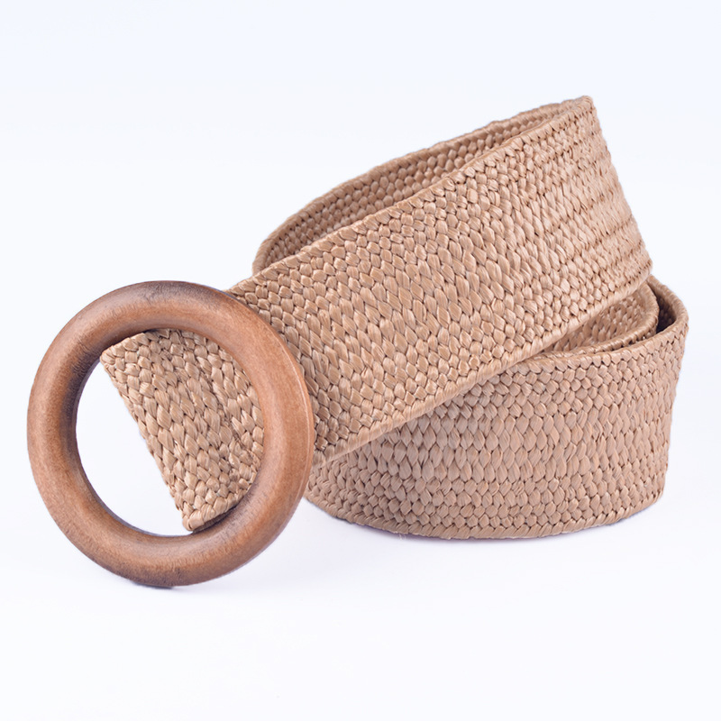 Women Fashion Pink Straw Weave Belt Round Buckle Bohemian Style Boho Dress Simple Belt