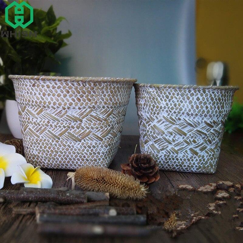 WHISM Seagrass Rattan Storage Baskets Wicker Flower Pot Handmade Straw Makeup Organizer Woven Garden Planter Desktop Storage Box