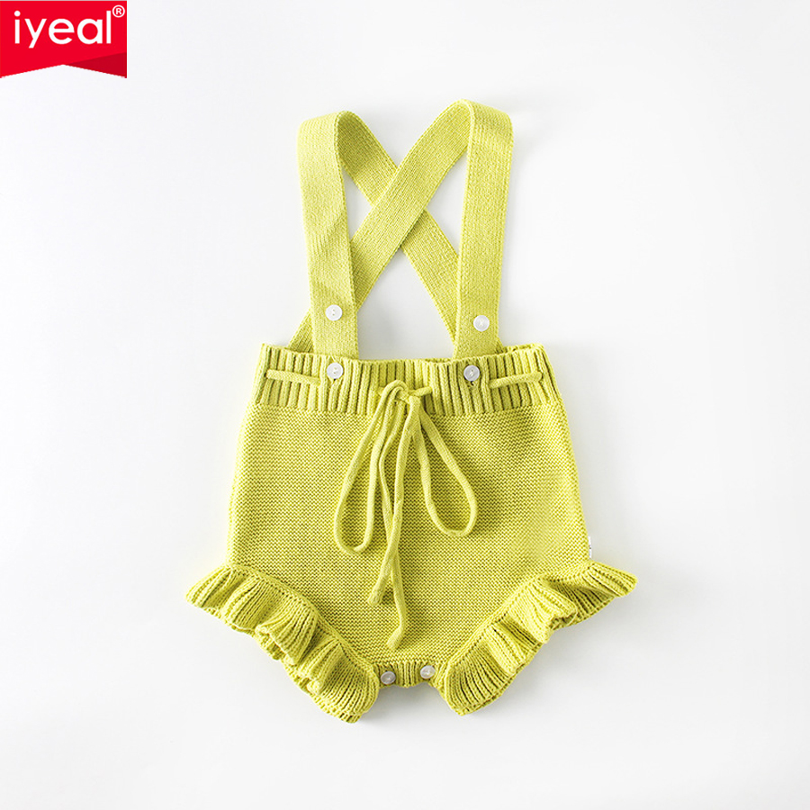 IYEAL New Arrivals 2018 Cute Baby Clothes Fashion Ruffles Cotton Knitted Kids Infant Jumpsuit Baby Girls Outfits Toddler Costume 2pcs set newborn floral baby girl clothes 2017 summer sleeveless cotton ruffles romper baby bodysuit headband outfits sunsuit