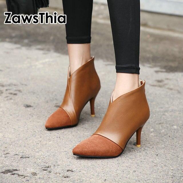 ZawsThia 2020 donna di inverno sottile di alta heels V cut design punta a punta delle signore sexy pompe stivali con zip alla caviglia per le donne formato 33 46