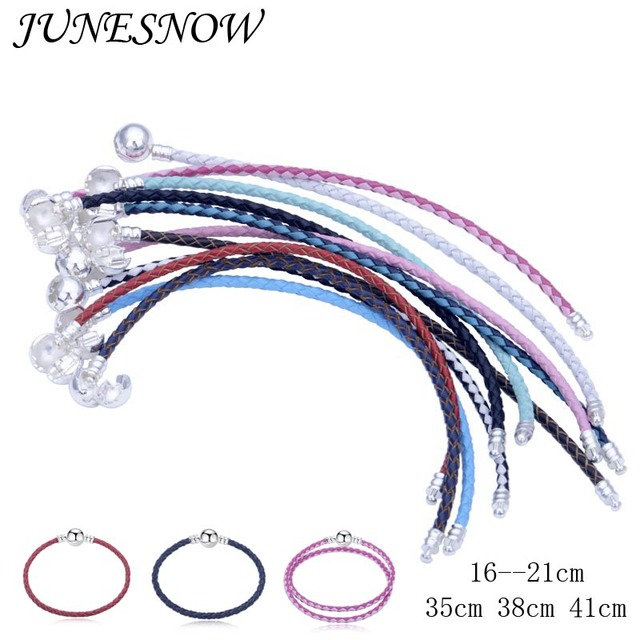 12 Colors Leather Chain 5pcs/Lot Fit pan Bracelets European Fashion Charm Bracel