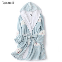 Women's Nightgown Winter Printing Flannel Sleepwear With Hat Warm Robes