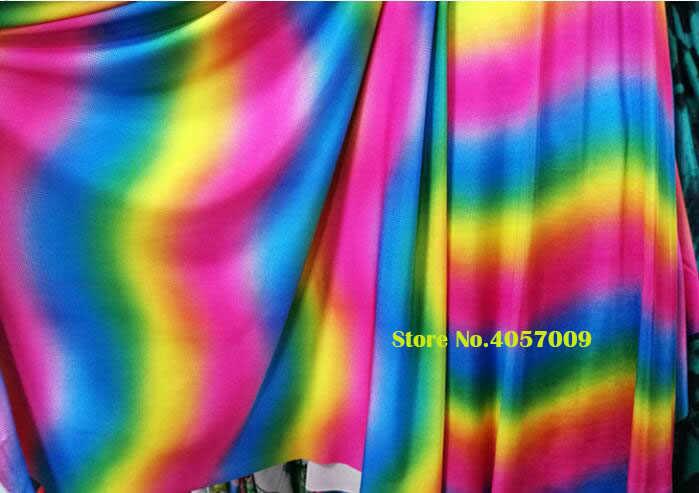 f15a7b77bcf ... Good Swimwear Fabric Cotton/Spandex knitted Fabric Stretch Gradient  colourful Printed Fabric DIY Sewing DanceWear ...