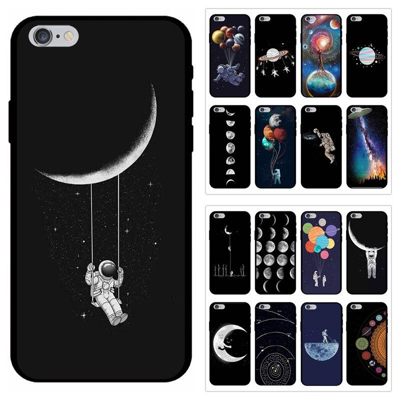 Astronaute cas sur pour Coque iPhone 8 espace lune plan te toile housse en TPU souple