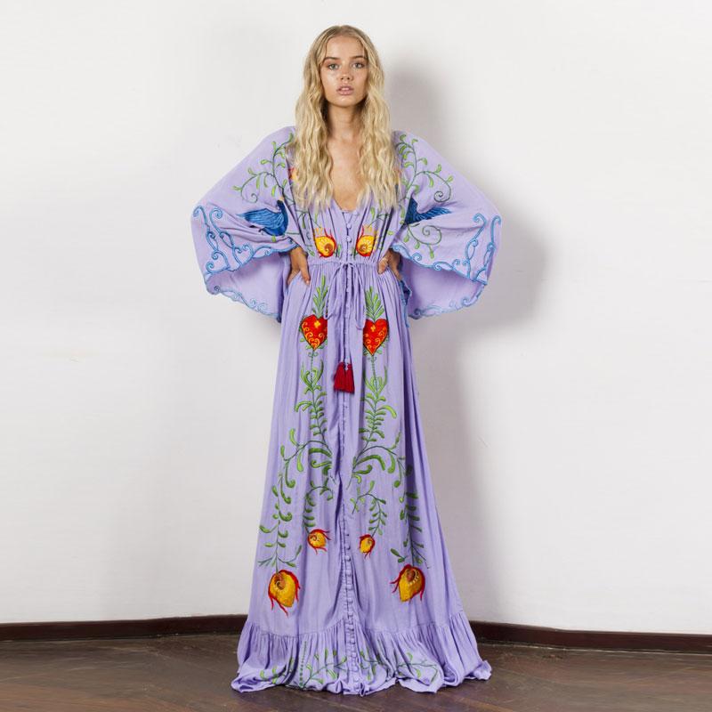 Summer new dress Bohemian travel holiday island beach dress ultra loose embroidery flowers retro tassel ultra long dress|Dresses|   - AliExpress