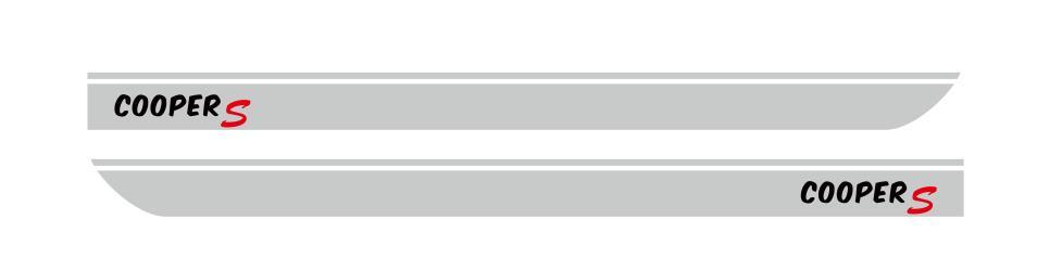 Для BMW MINI CooperS F55 F56 F54 R55 наклейки для боковой юбки автомобиля Аксессуары для кузова подходят на 3-5 дверей Спортивные полосы наклейки - Название цвета: Silver-black letter