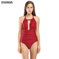 INGAGA 2017 New One Piece Swimsuits Brand Swimwear Women Halter Vintage Monokini Beach Bathing Suits