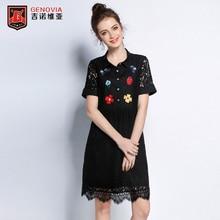 Для женщин Платья для женщин L-5XL Вышивка Кружево платье женский, черный большой код мода Тун-воротник платье поступление