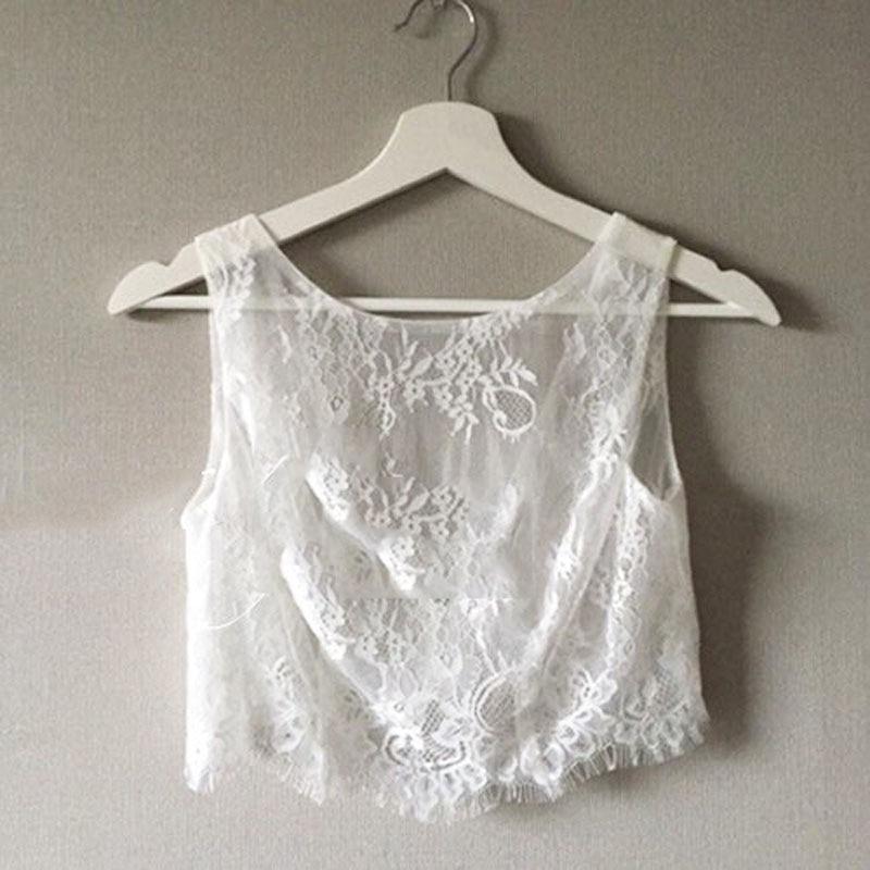 Sleevesless White Ivory Lace Jacket Birdes Lace Topper Free Shipping Sheer Lace Bridal Wraps Custom Made Wedding Accessory