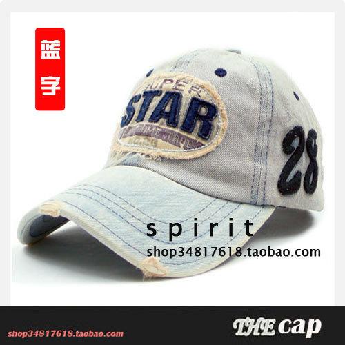 Free shipping 2103 Summer male women's star denim applique water wash retro finishing sun-shading fashion caps baseball cap