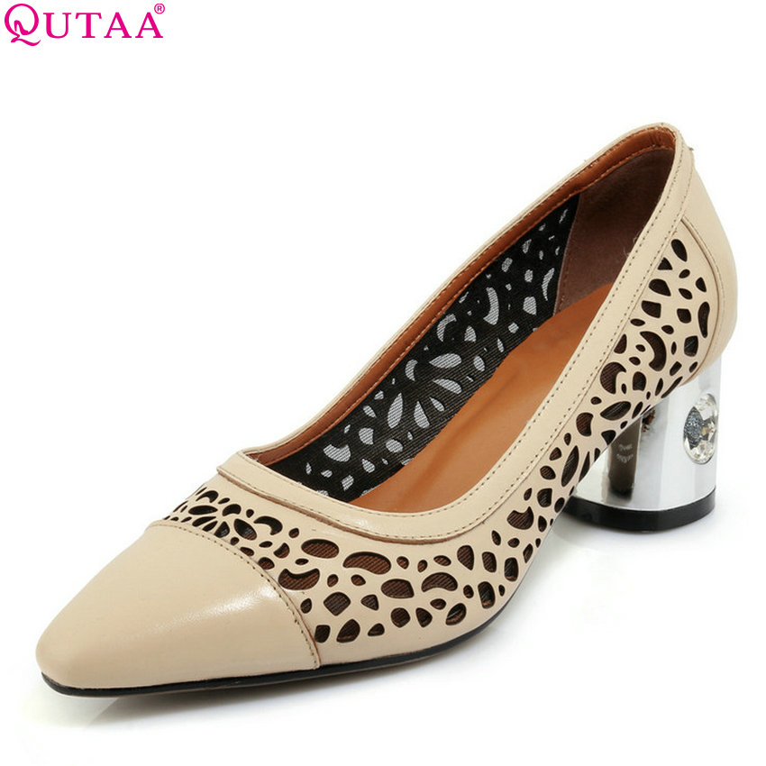 QUTAA 2018 Women Pumps Casual Women Shoes Platform Slip on Pointed Toe All Match Square High Heel Women Pumps Size 34-39 nayiduyun women genuine leather wedge high heel pumps platform creepers round toe slip on casual shoes boots wedge sneakers
