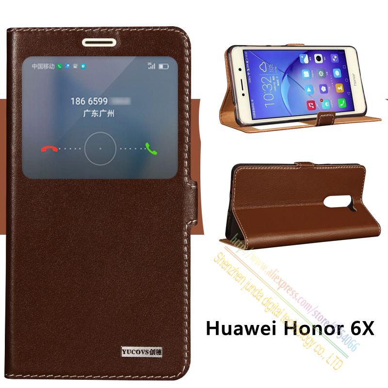 """bilder für Abdeckung Fall Für Huawei Ehre 6X Honor6x (5,5 """") Top-qualität Aus Echtem Leder Magnet Schlag-standplatz Handytasche + freies geschenk"""