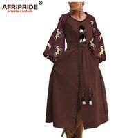 african print cloth casual dress for women AFRIPRIDE bazin richi lantern sleeves ankle length split women dress A1925016