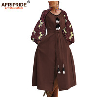 2019 african print cloth casual dress for women AFRIPRIDE bazin richi lantern sleeves ankle length split women dress A1925016